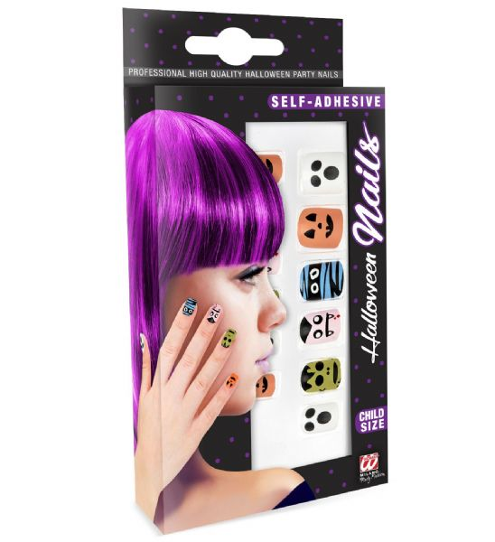 Set Of 12 S/Adhes Halloweencharacter Nails Child Size Makeup Halloween Cosmetics
